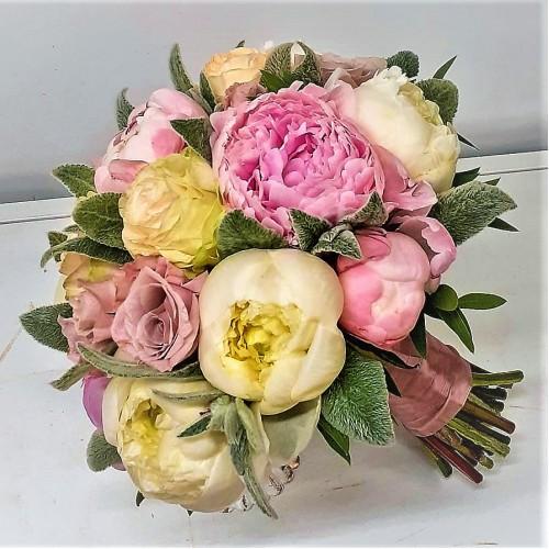 """Букет-свадебный """" С пудровыми розами """""""